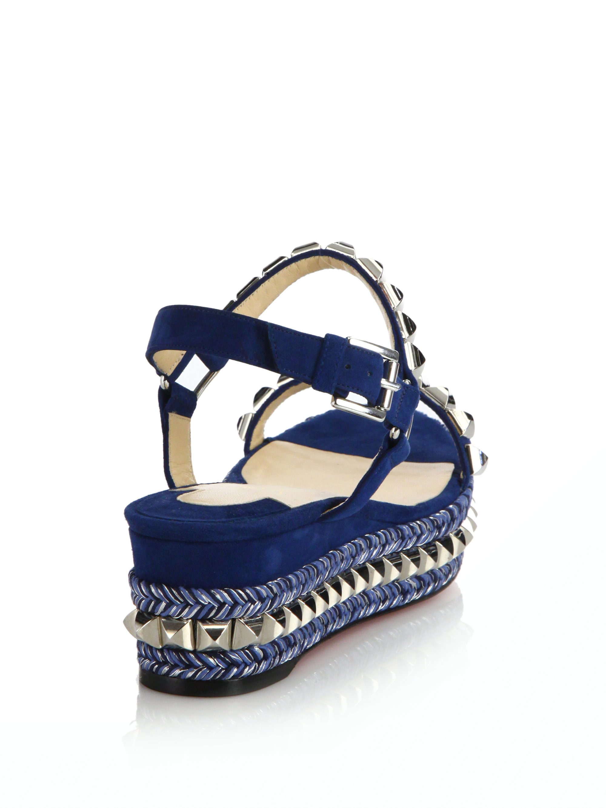 958479ab232 ... ireland lyst christian louboutin suede leather platform sandals in blue  3549a 5f503