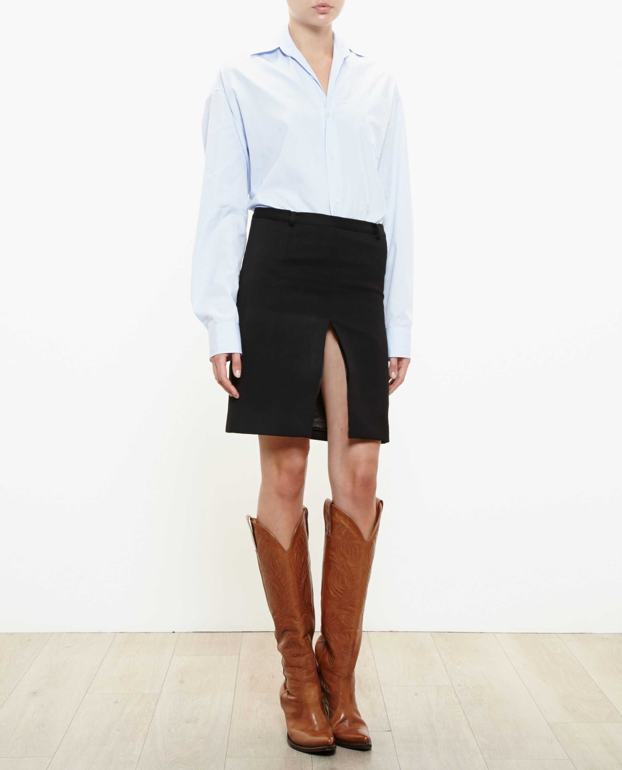 Vetements Front Slit Mini Skirt In Black Lyst