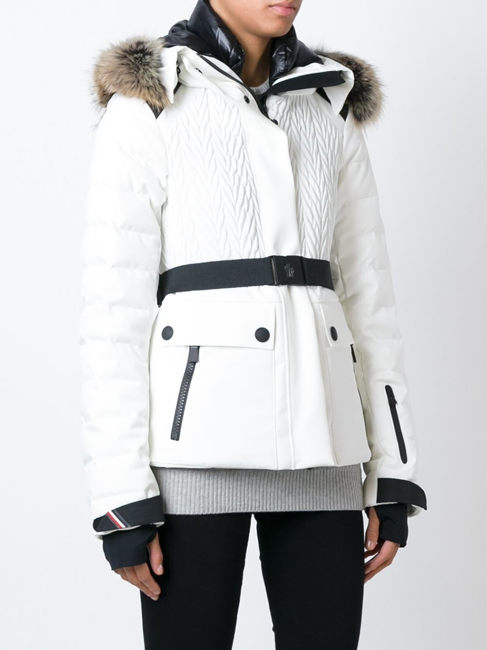 633f8d92bc1f ... women clothing type jackets d12a7 uk moncler grenoble coyote fur trim  padded jacket in white lyst 9ddd9 386c8 ...