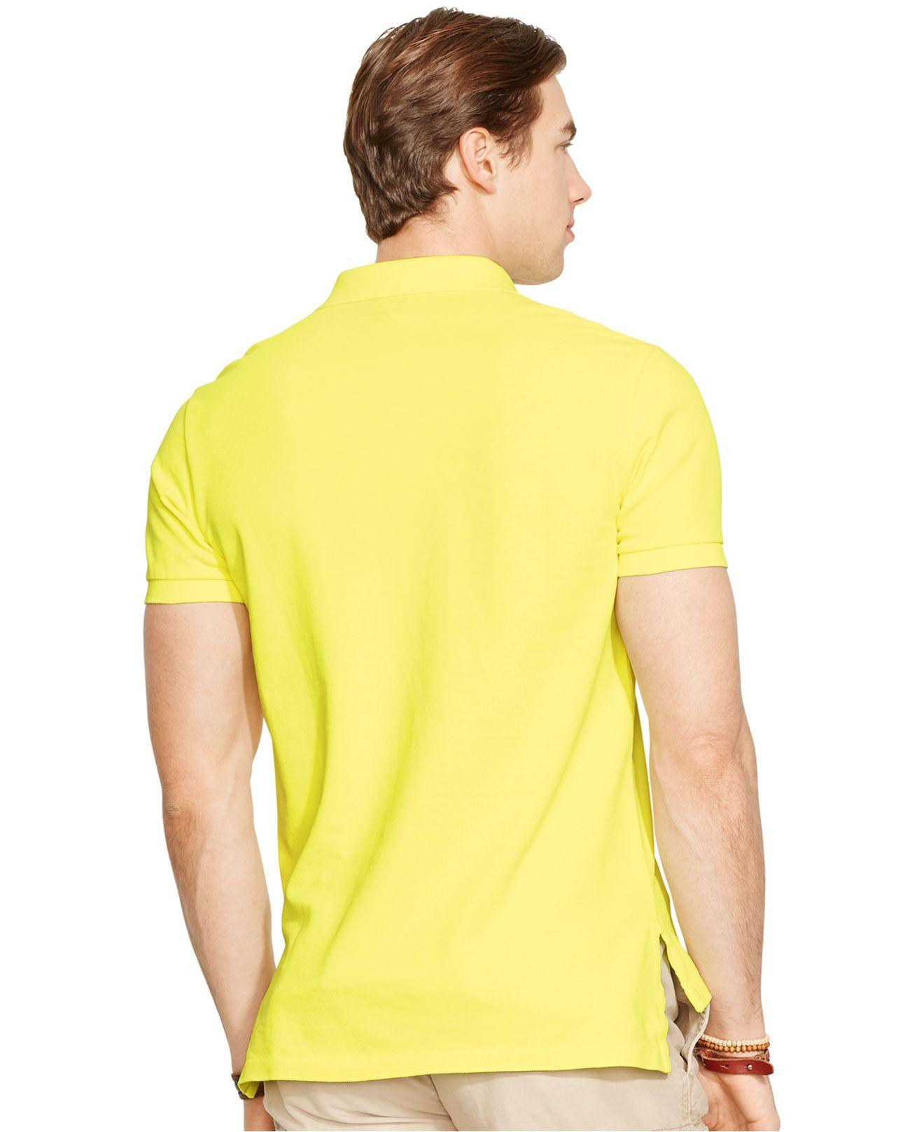 e98bfecf6f498 Lyst - Polo Ralph Lauren Custom-fit Neon Mesh Polo Shirt in Yellow ...