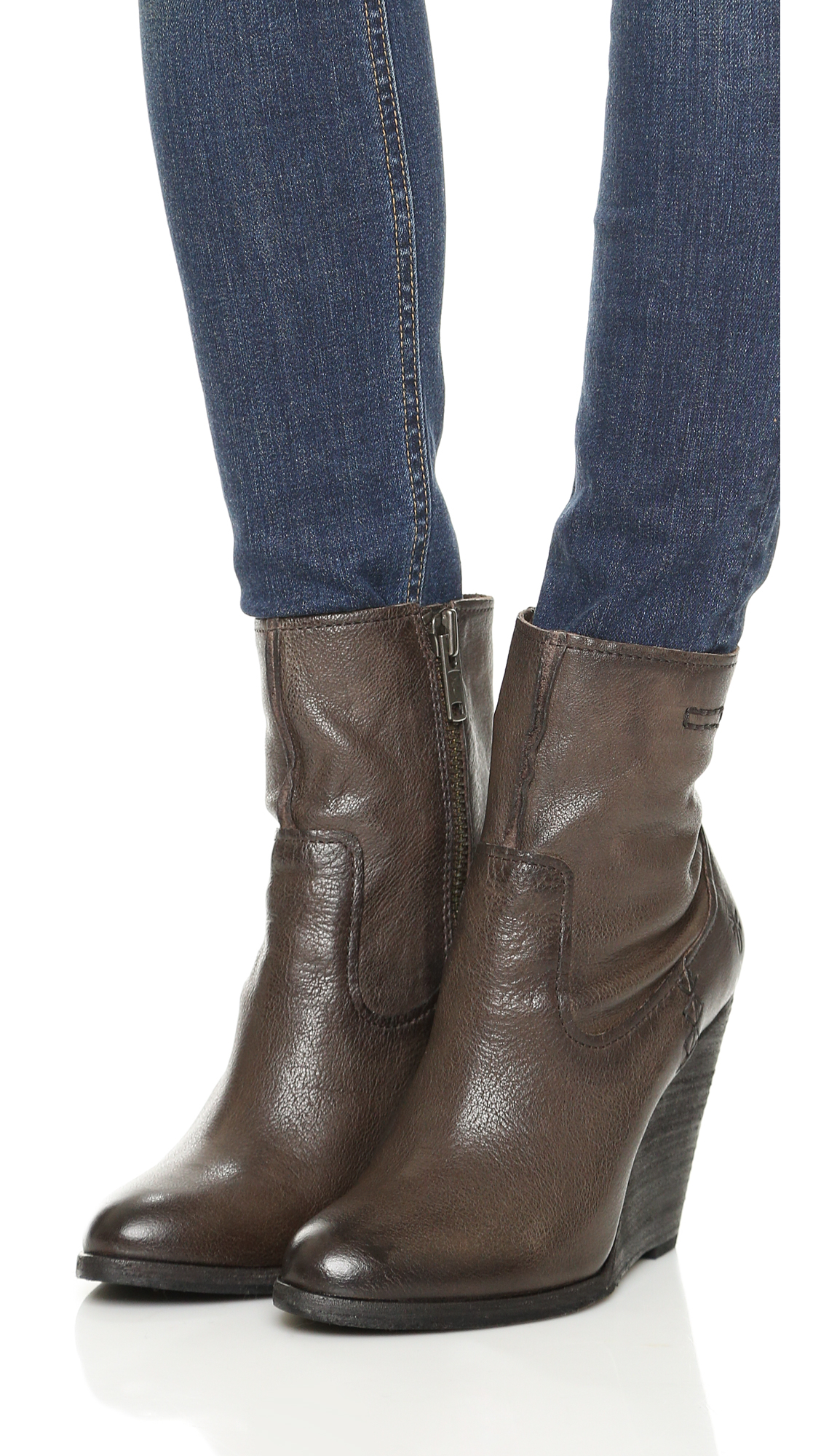 ebd8cae3569 Lyst - Frye Cece Artisan Short Wedge Booties in Gray