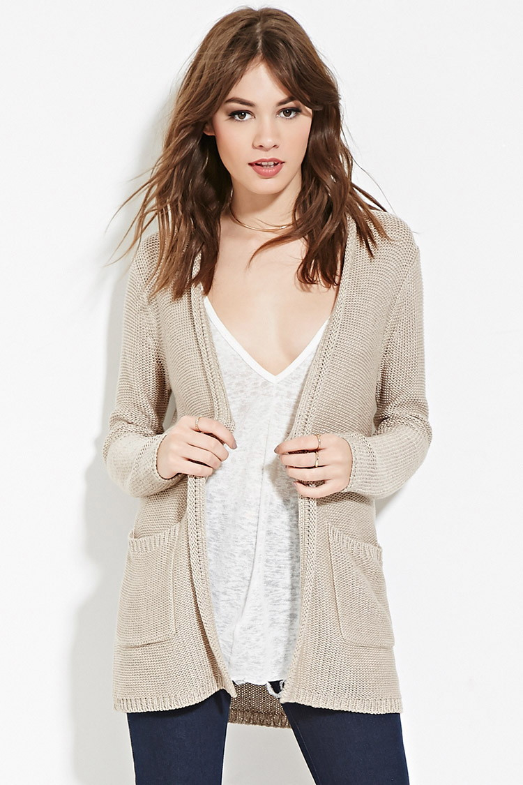 Forever 21 Longline Ribbed Cardigan in Brown | Lyst