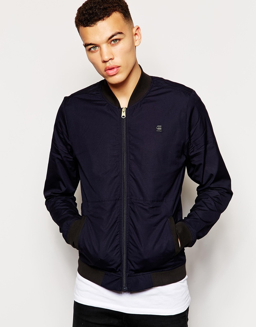 g star raw g star bomber jacket correct bergmann ripstop in blue for men lyst. Black Bedroom Furniture Sets. Home Design Ideas