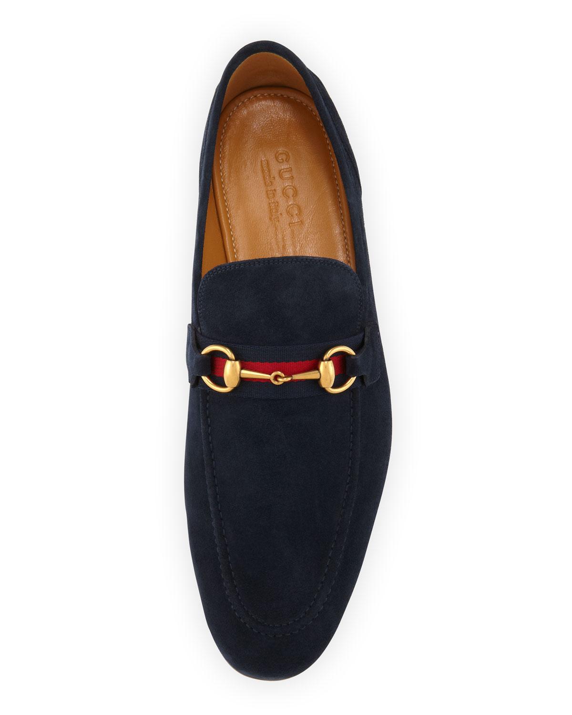 Gucci Horsebit Webbed-Stripe Slip-Ons in Blue for Men | Lyst