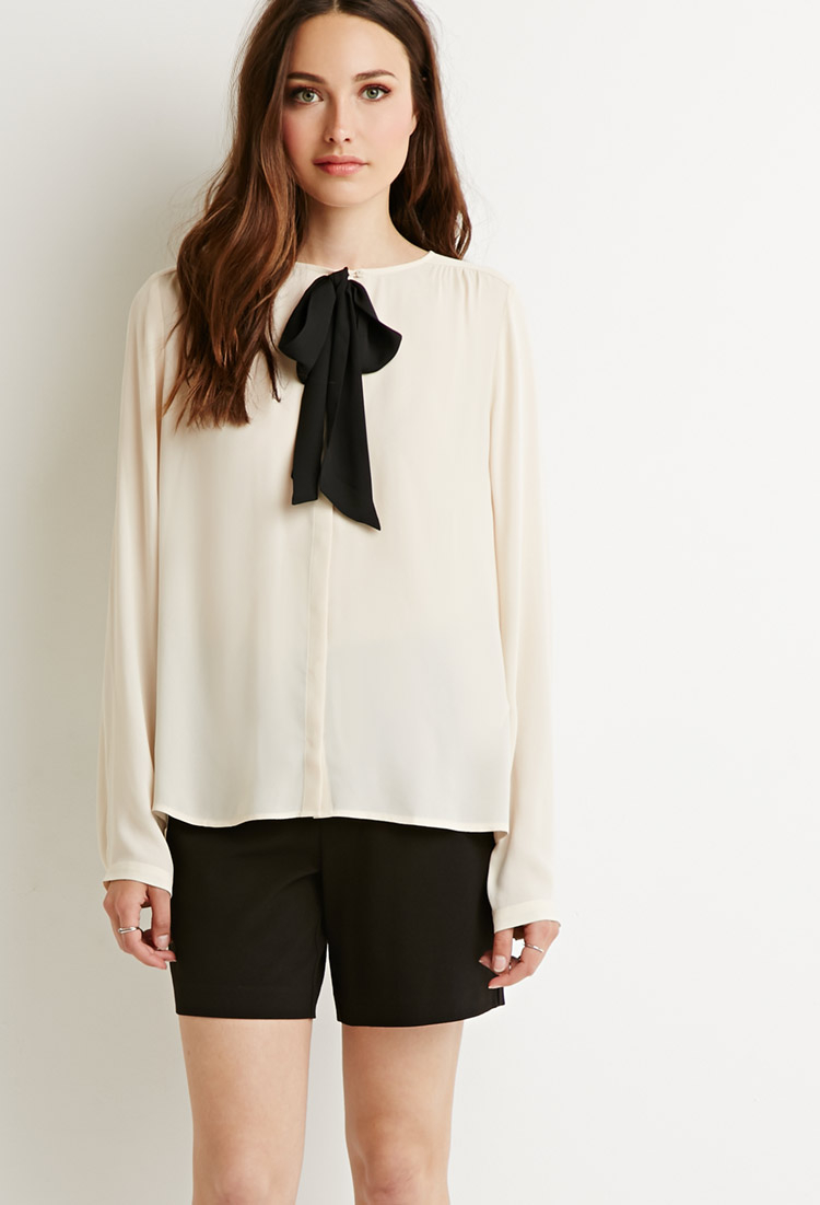 Black And White Bow Back Blouse 49