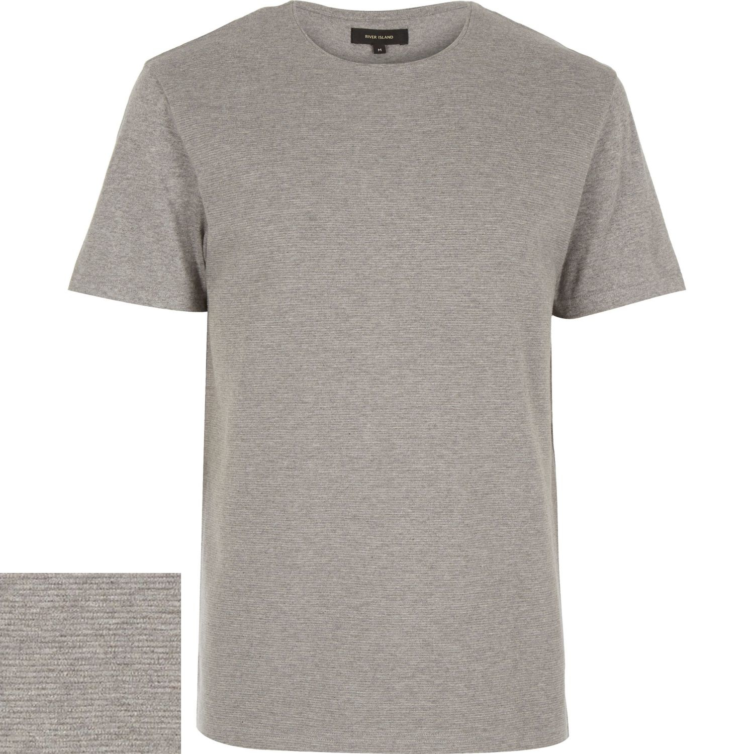 River island grey marl textured ribbed t shirt in gray for for Grey marl t shirt