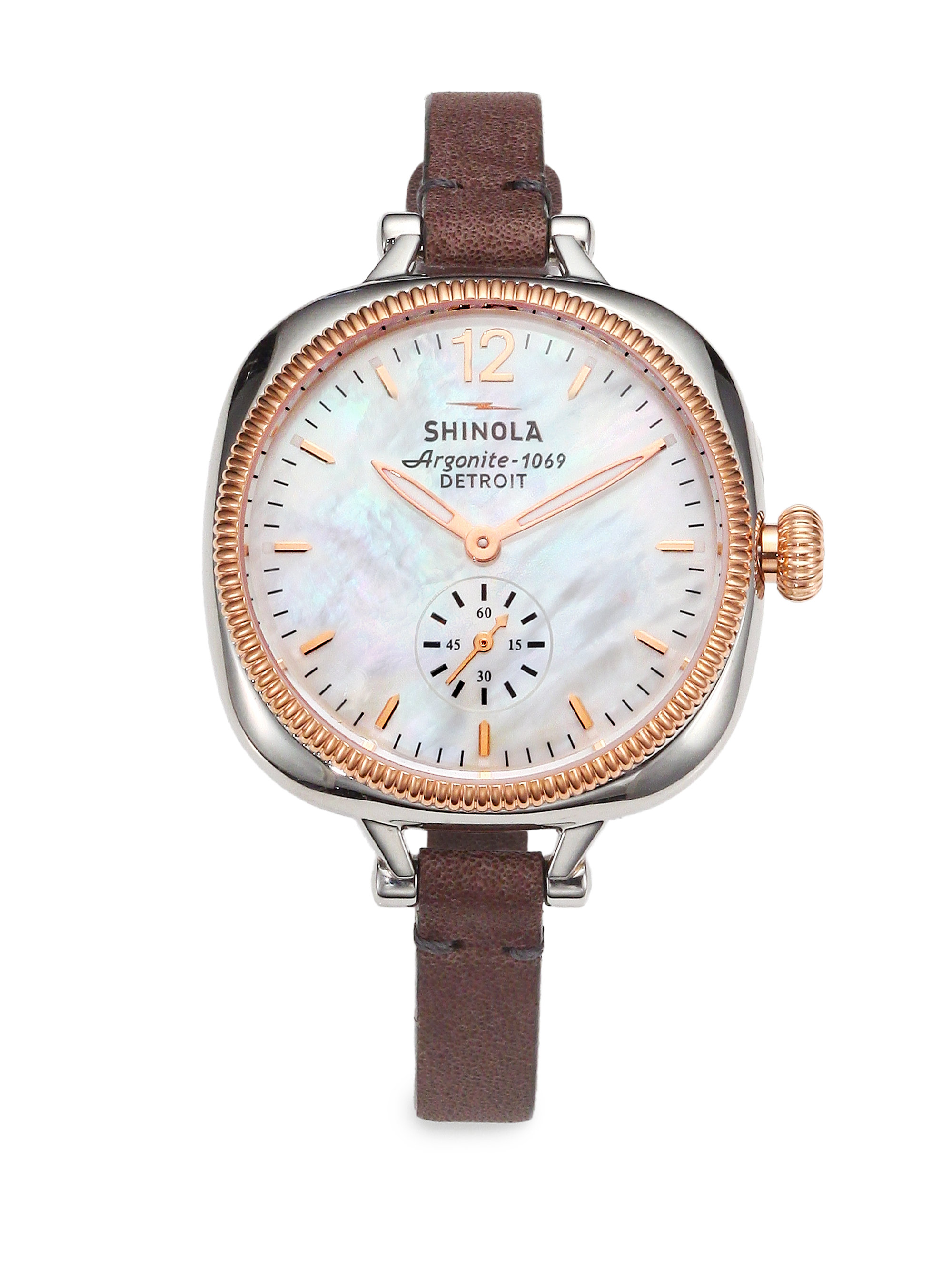 Lyst shinola gomelsky mother of pearl two tone stainless steel leather strap watch in brown for Shinola watches
