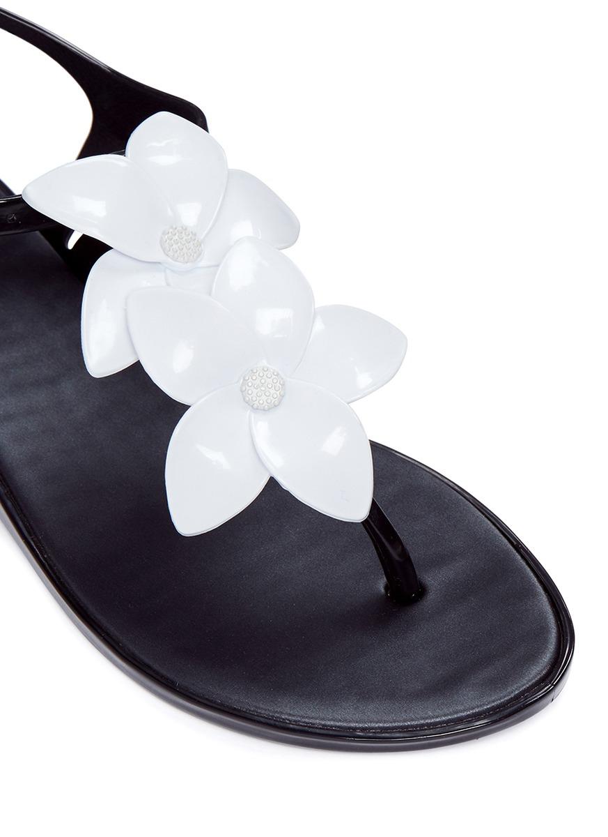 07a5f45d9c9b Melissa  solar Garden Ii  Flower Appliqué T-strap Sandals in Black ...