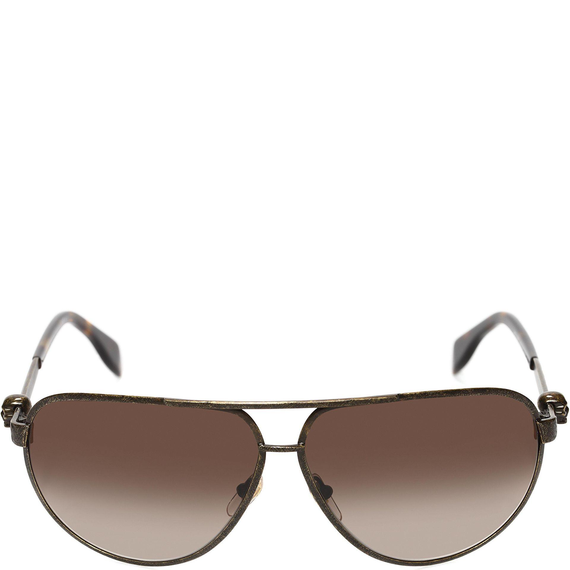 5541c09d80c Alexander Mcqueen Metallic Skull Pilot Sunglasses in Brown for Men ...