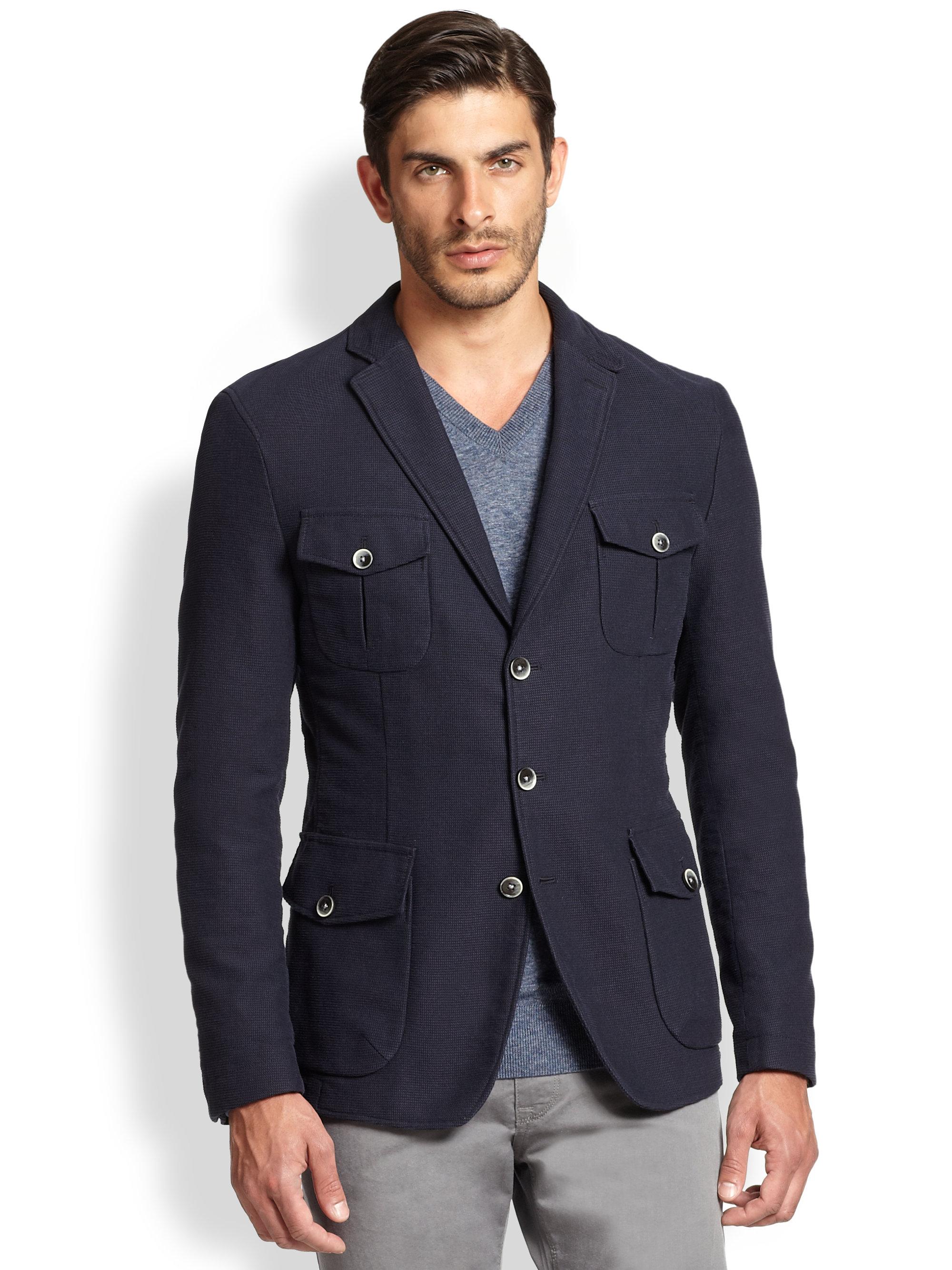 hugo boss marquard cotton wool slim fit blazer in blue for. Black Bedroom Furniture Sets. Home Design Ideas