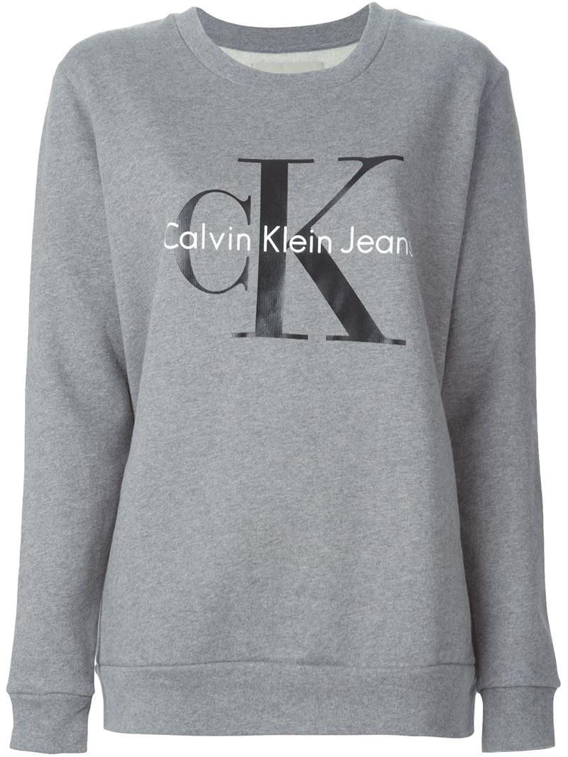 Calvin Klein Jeans Logo Print Sweatshirt In Gray Lyst