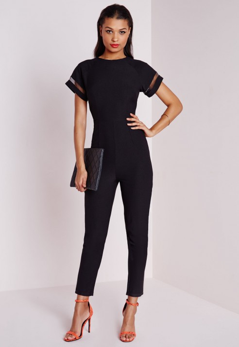 Missguided Tailored Jumpsuit With Mesh Detail Sleeves in Black | Lyst