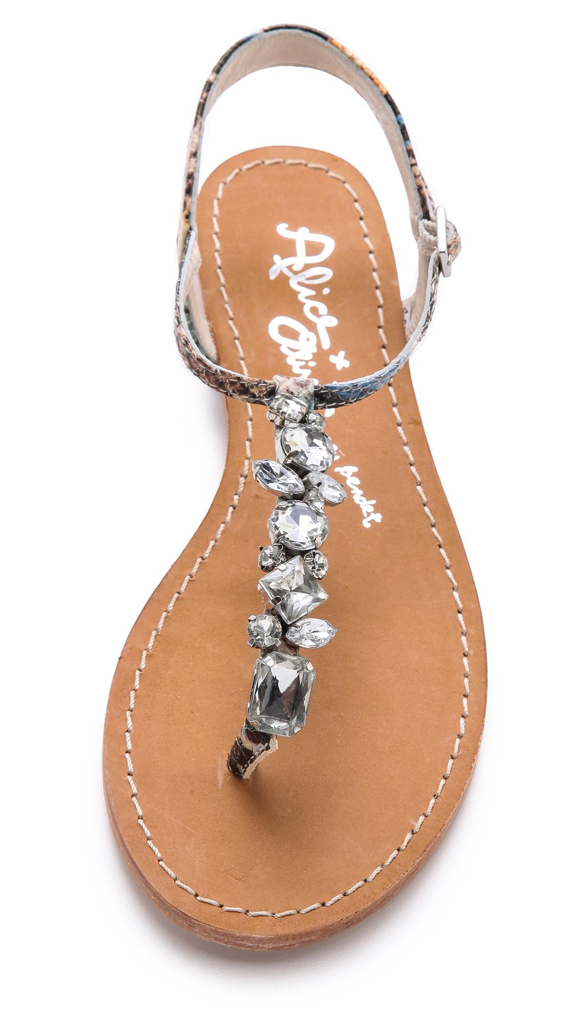 00d80bafe Lyst - Alice + Olivia Alice Olivia Nia Jeweled Flat Sandals in Black