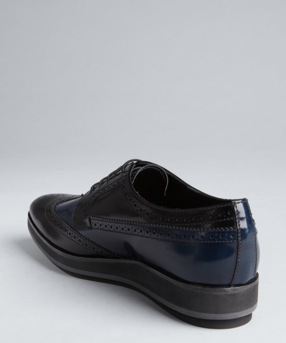 prada ladies purse - Prada Black And Navy Patent Leather Tooled Wingtip Platform ...