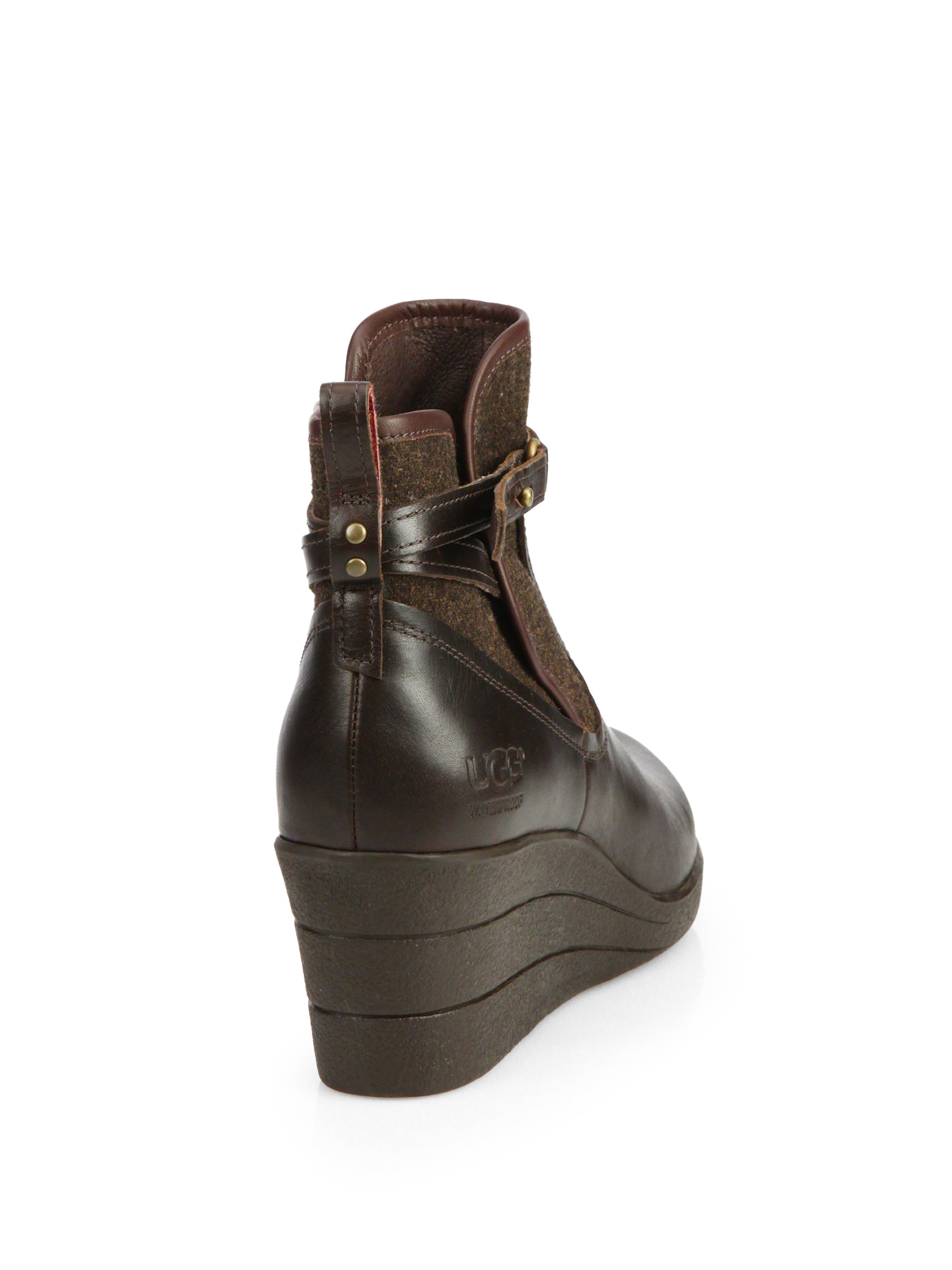 100088943b6e ... clearance lyst ugg emalie leather wool wedge ankle boots in brown 9f8e3  322d8