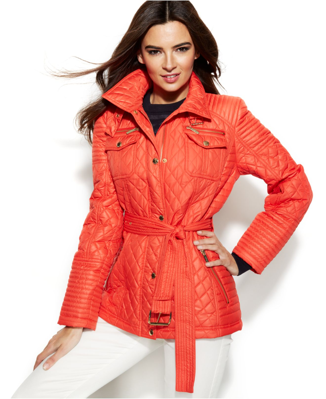 Michael kors Michael Quilted Belted Jacket in Red   Lyst