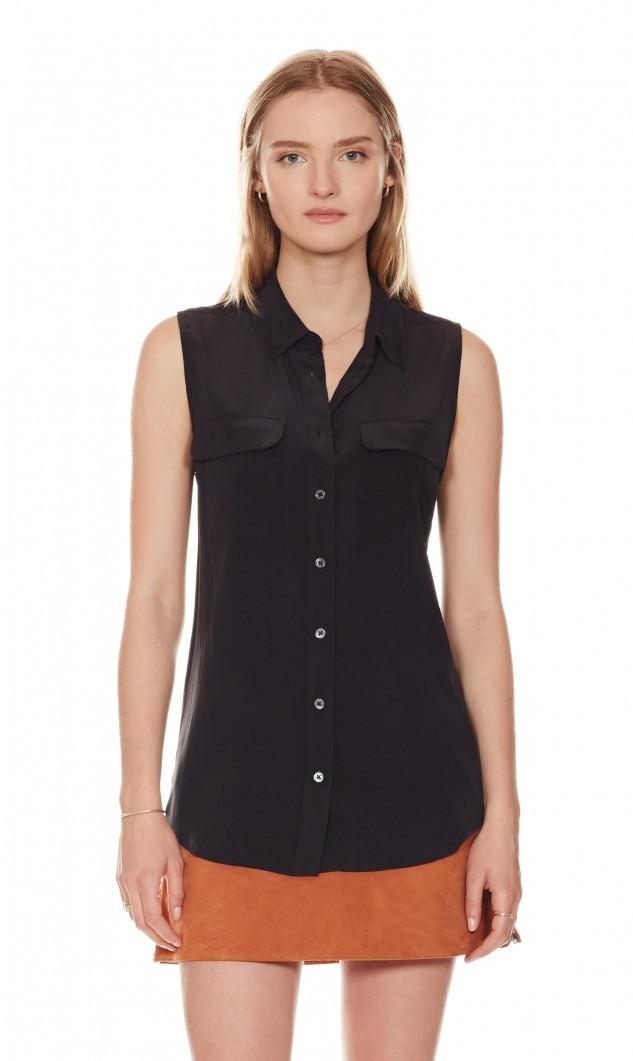 Equipment sleeveless slim signature silk shirt in black for Equipment black silk shirt
