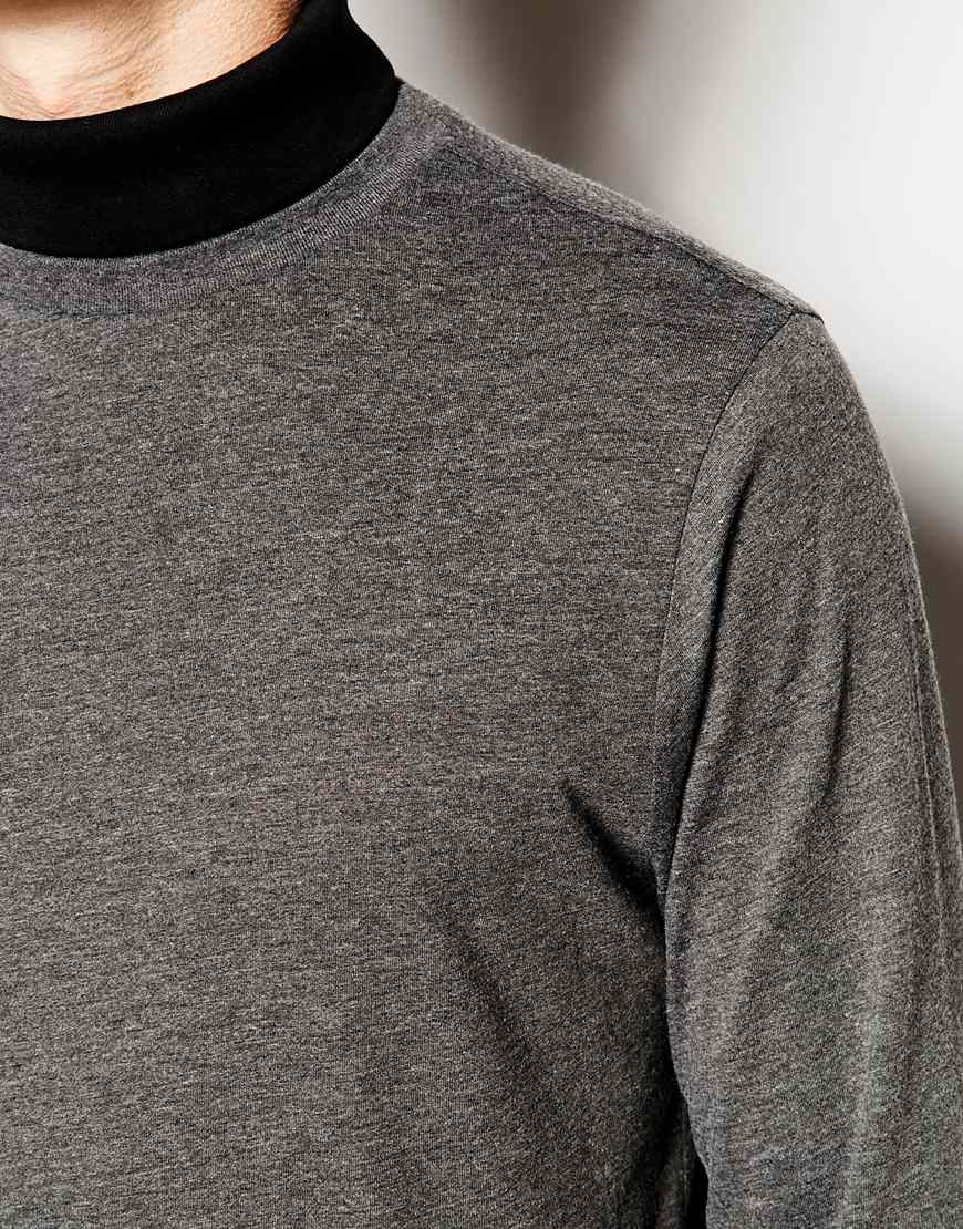2e314f23 Lyst - ASOS Longline Long Sleeve T-shirt With Mock Roll Neck in Gray ...
