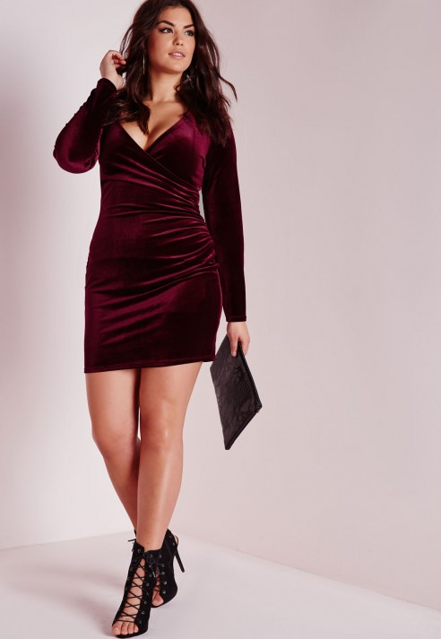 Lyst - Missguided Plus Size Velvet Wrap Front Dress Burgundy in Purple