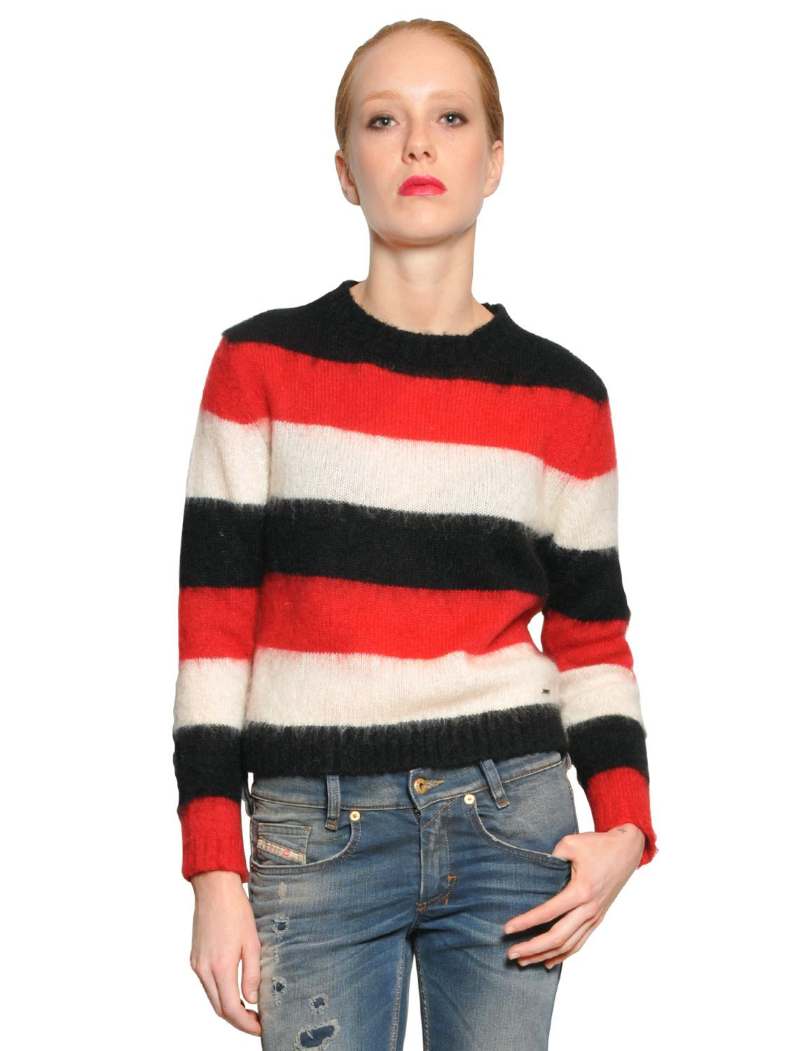 Diesel Washed Striped Mohair Blend Sweater | Lyst