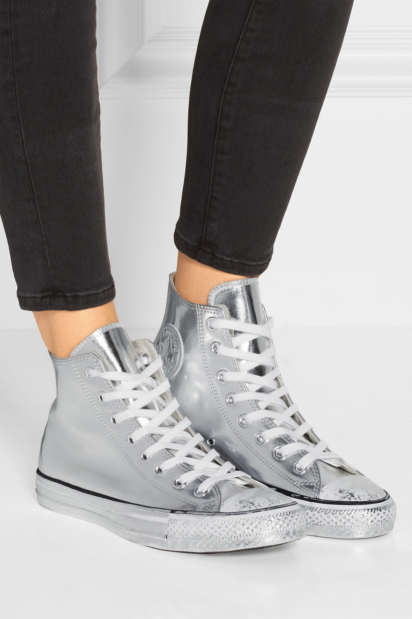 21bf92190c96 Lyst - Converse Chuck Taylor All Star Chrome Metallic Leather High ...