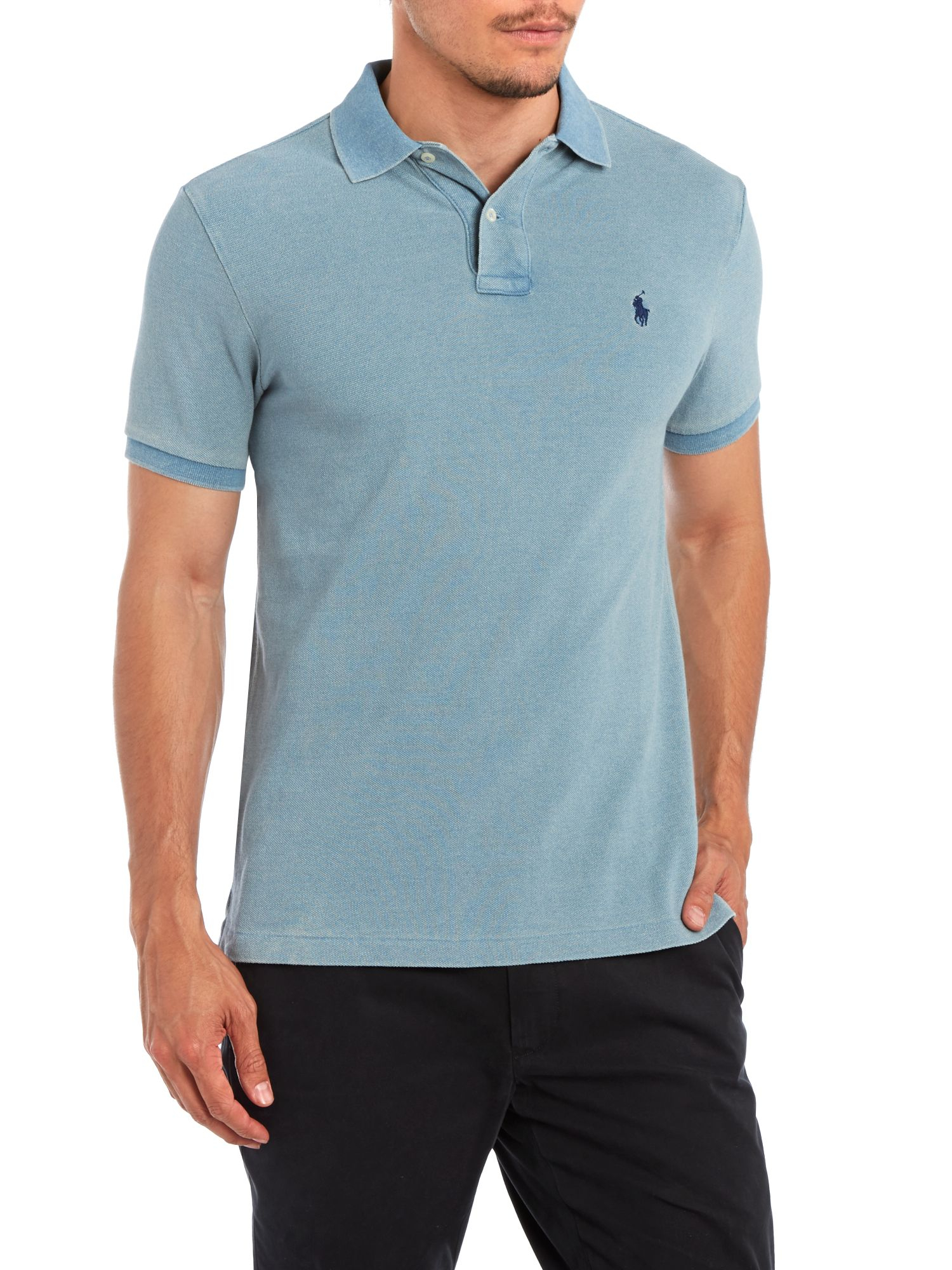 Lyst polo ralph lauren slim fit short sleeve mesh polo for Slim fit collared shirts