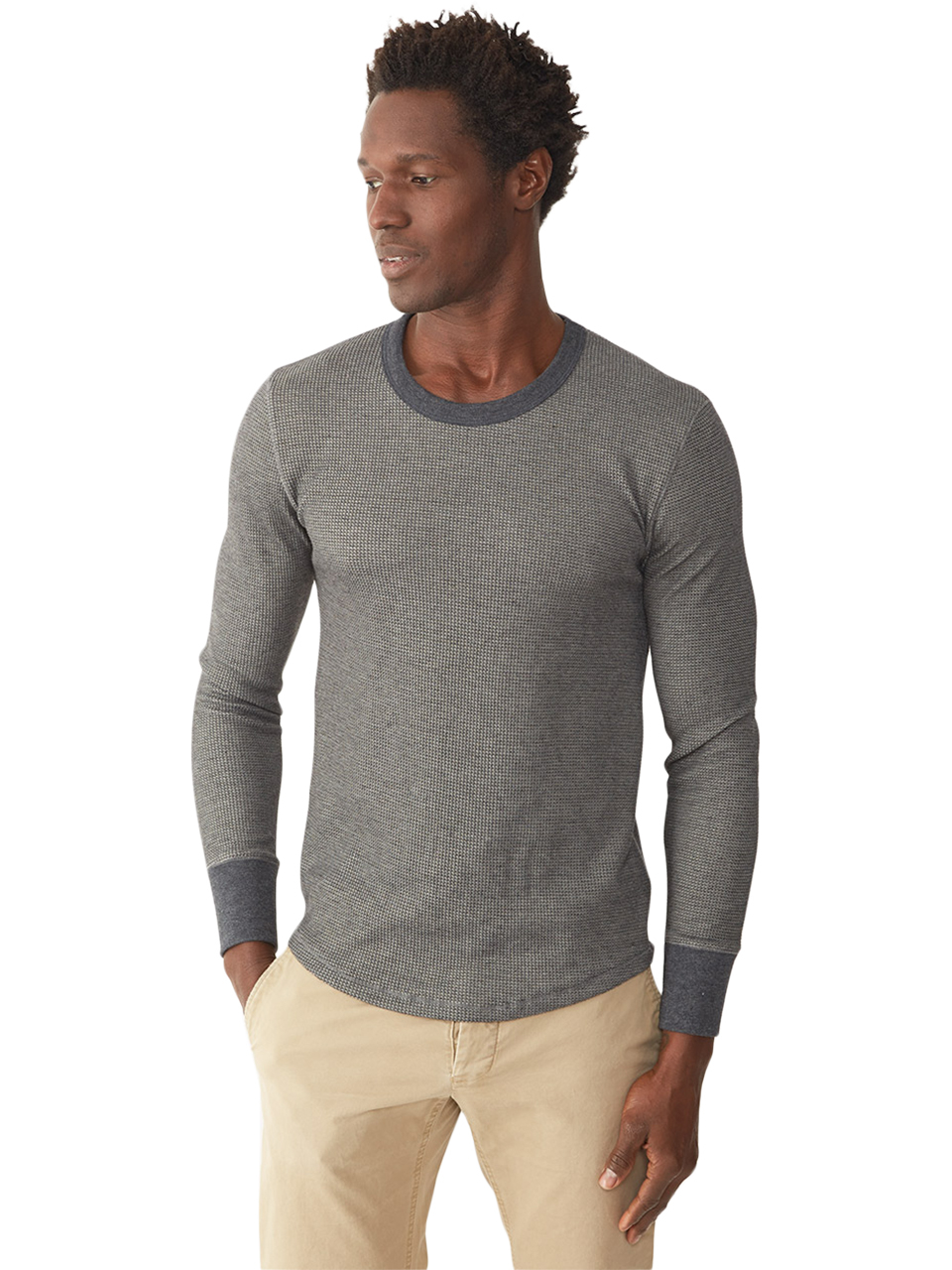 Alternative apparel camp thermal t shirt in black for men for Mens black thermal t shirts