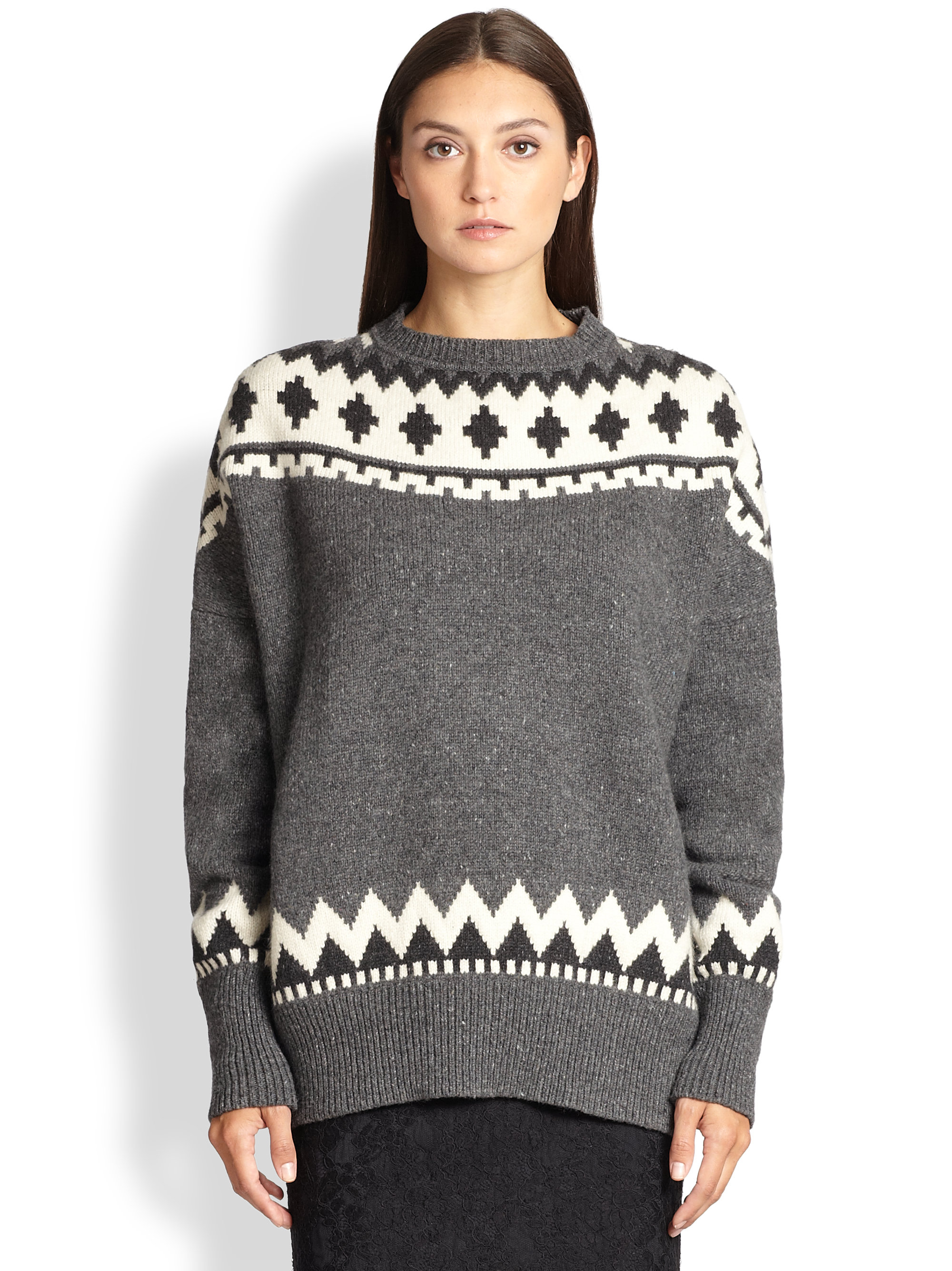 Adam lippes Wool & Cashmere Fair Isle Sweater in Gray | Lyst