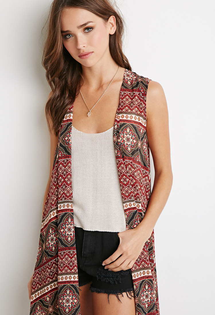Forever 21 Ornate Print Chiffon Cardigan You've Been Added To The ...