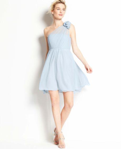 Ann taylor silk georgette flower one shoulder dress in for Silk georgette wedding dress