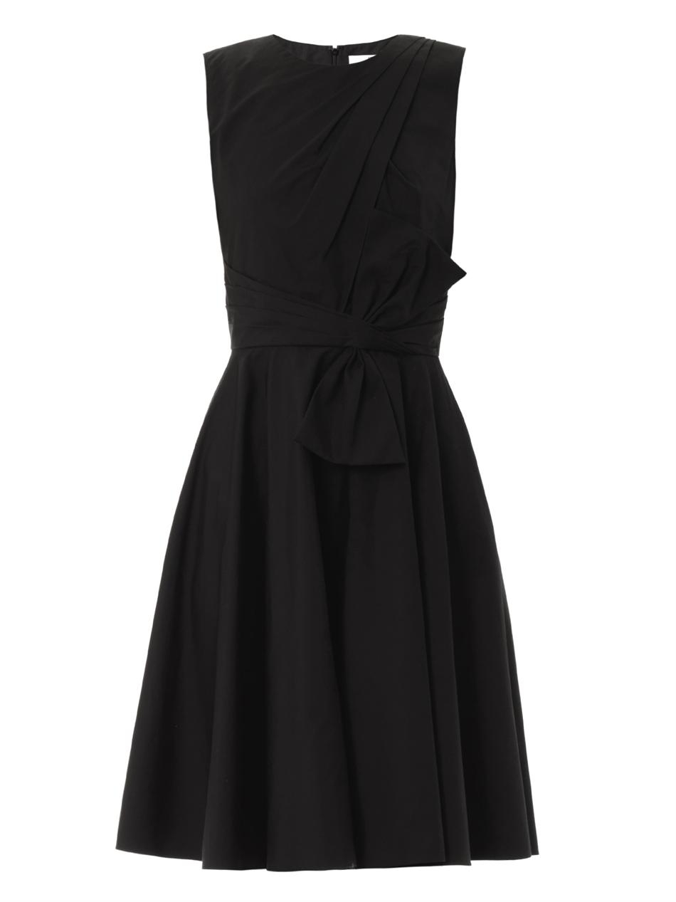 Prabal gurung Pleated-front Cotton Dress in Black | Lyst