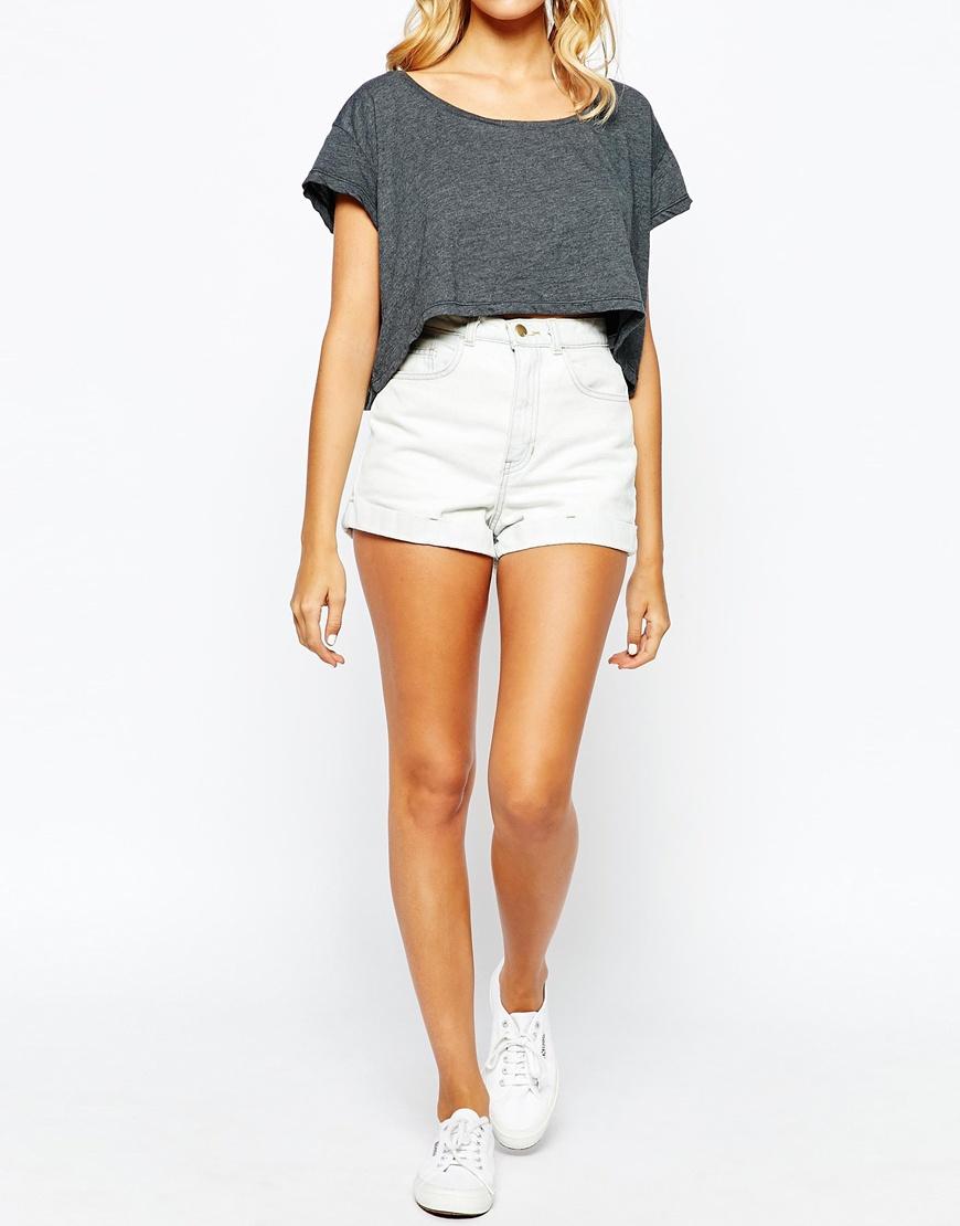 1c195ffccf American Apparel High Rise Denim Cuff Shorts in White - Lyst