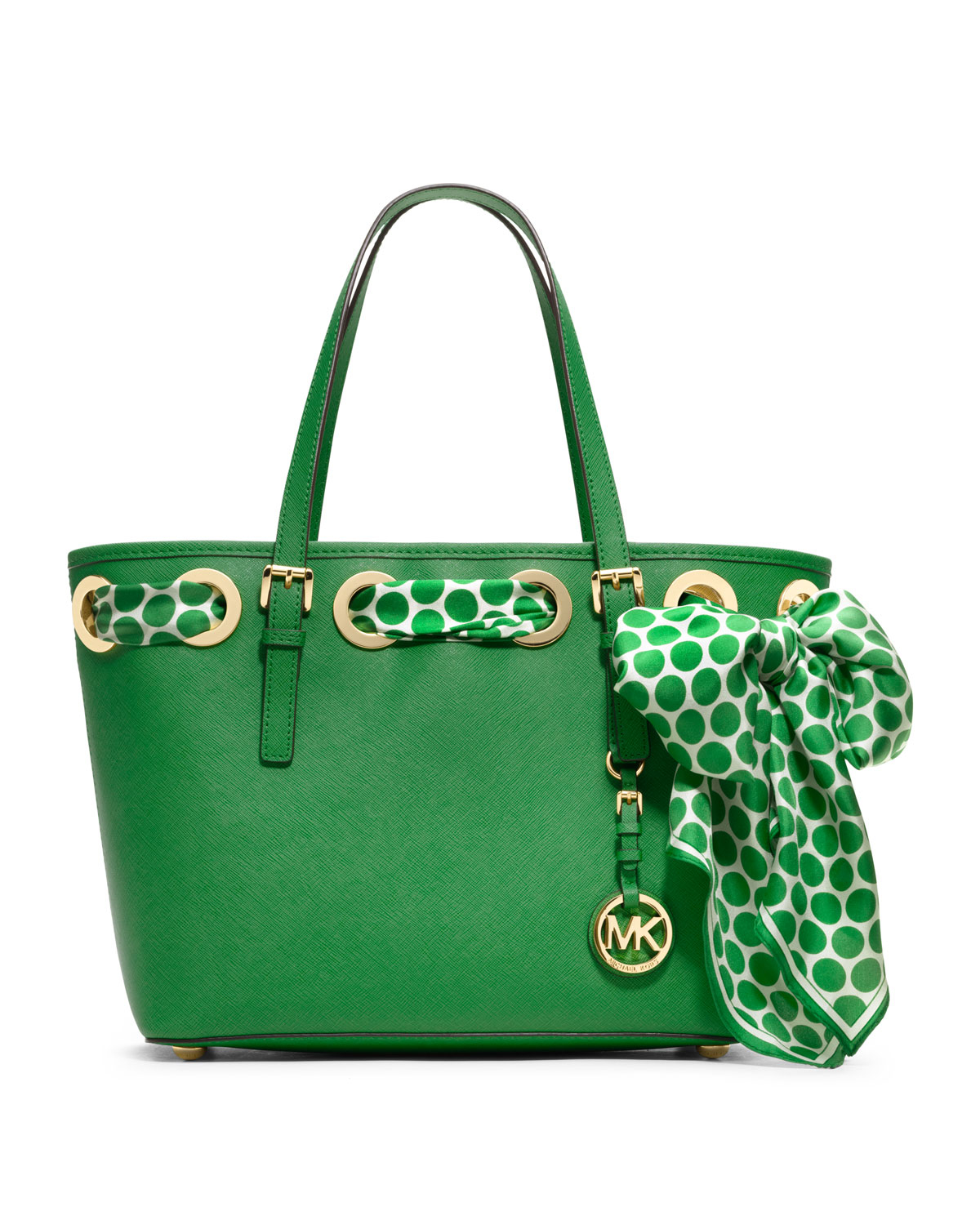 lyst michael kors small jet set scarf tote in green. Black Bedroom Furniture Sets. Home Design Ideas