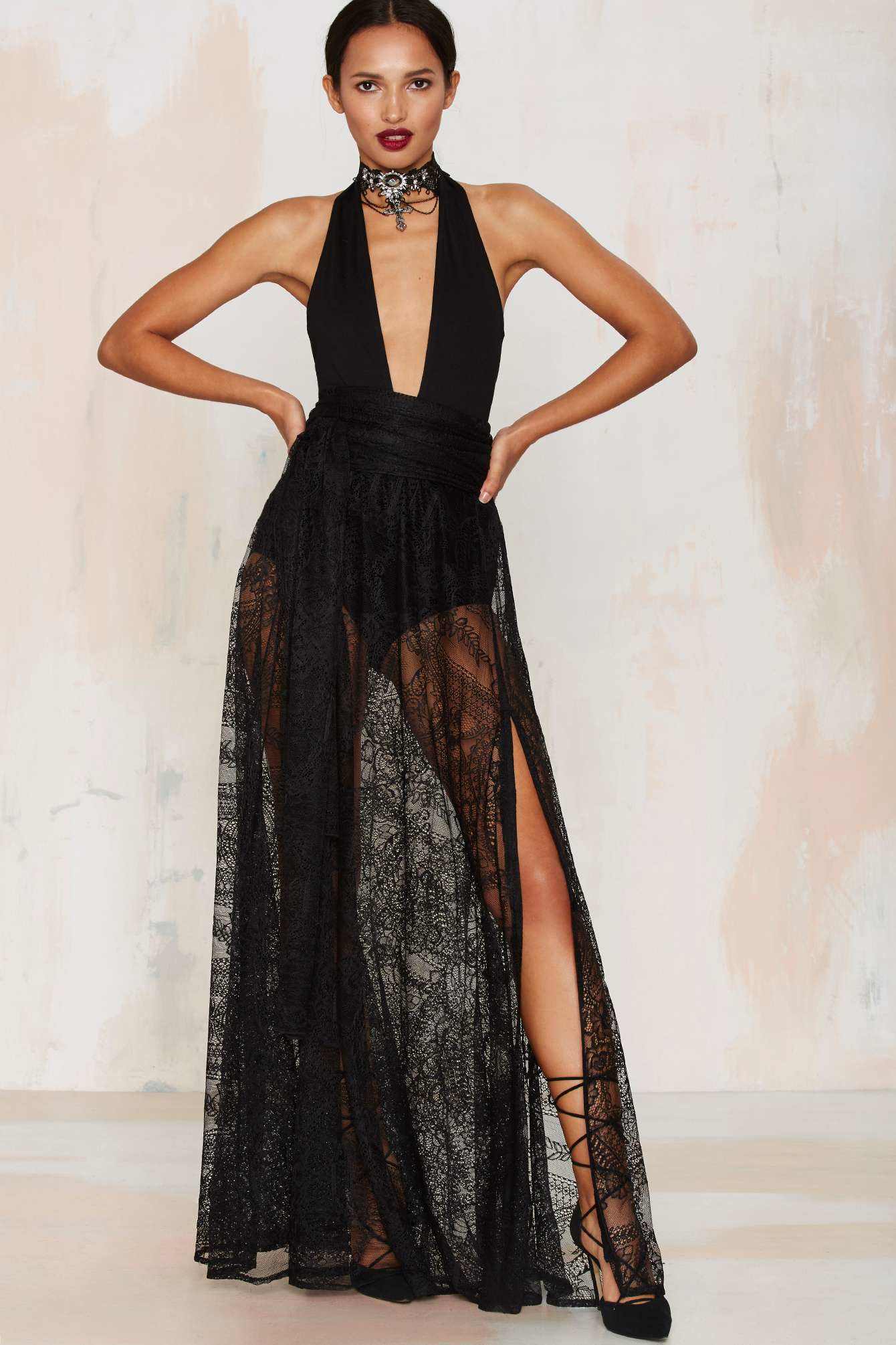 Nasty gal Just In Lace Maxi Skirt in Black | Lyst