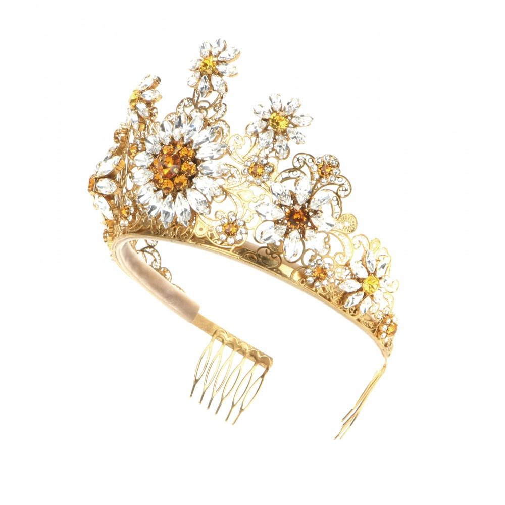 b1f7fc20db91 Lyst - Dolce   Gabbana Crystal-embellished Tiara in Metallic