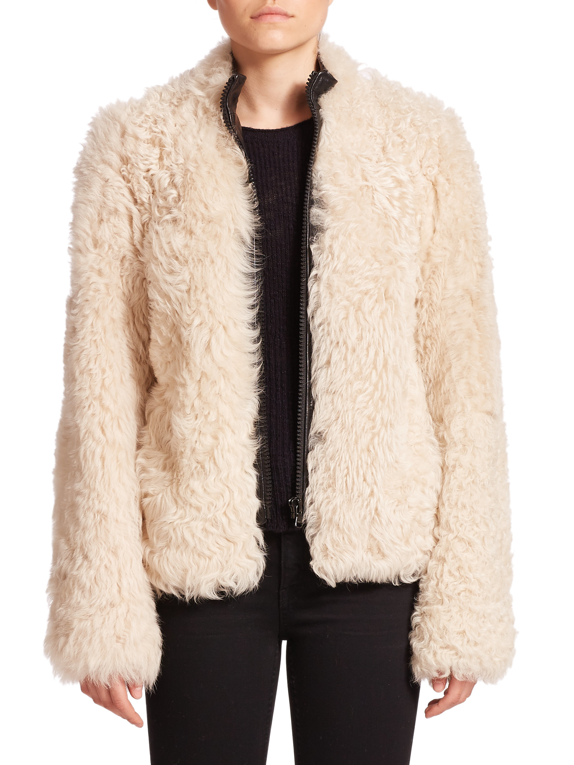 Helmut Lang Tigrado Fur Jacket In White Lyst