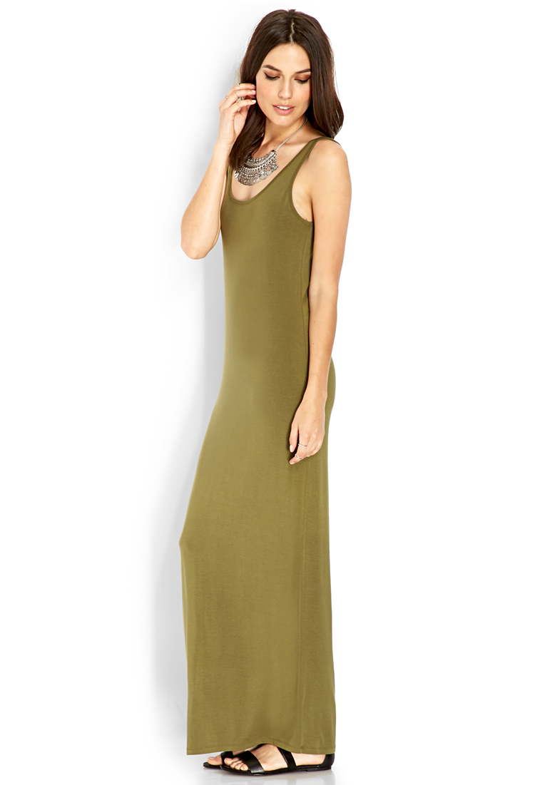 Forever 21 Jersey Knit Maxi Dress In Green Olive Lyst