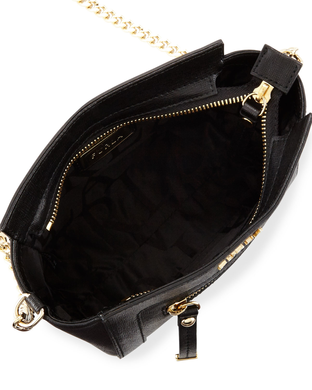 24a9e990e261 Lyst - Furla Ginevra Mini Leather Crossbody Bag in Black