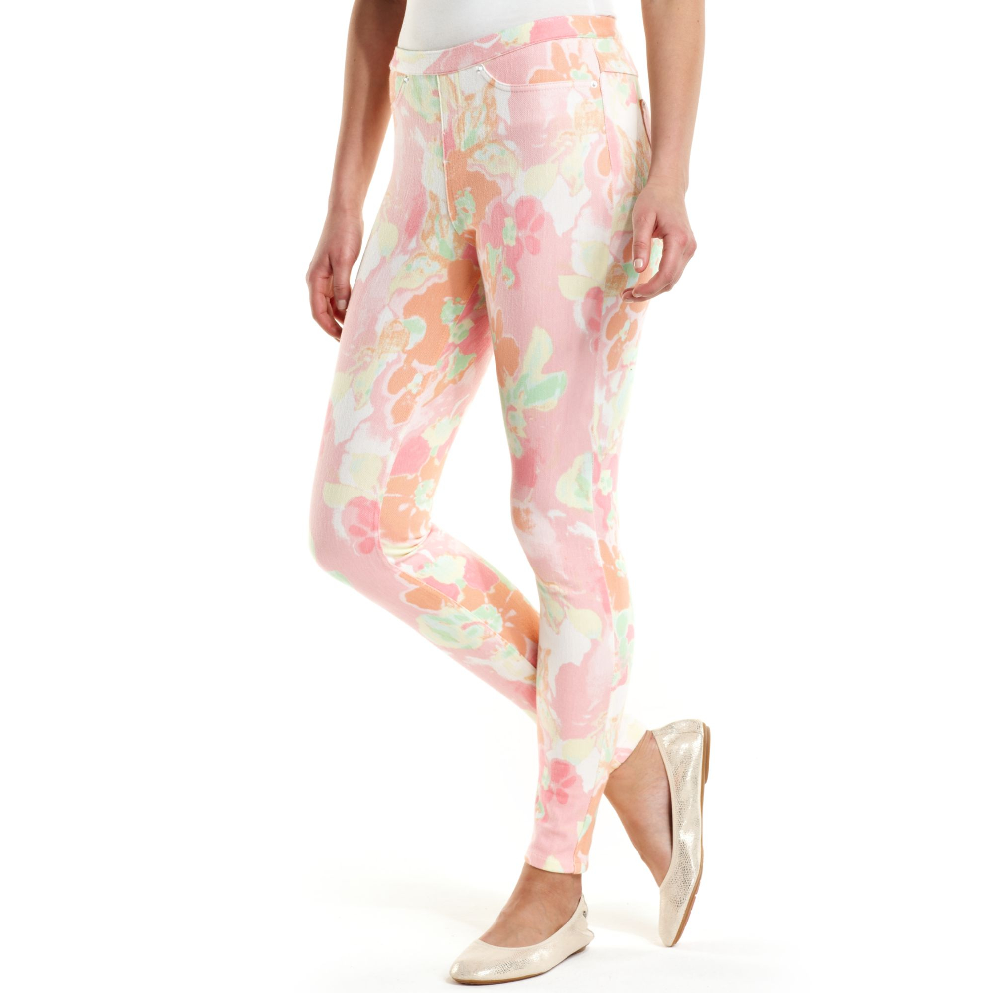 b32efd749d663 Hue Watercolor Floral Jeans Leggings in Pink - Lyst