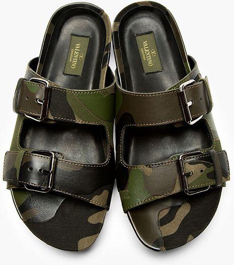 Valentino Khaki Camo Slipon Sandals In Green For Men -8175