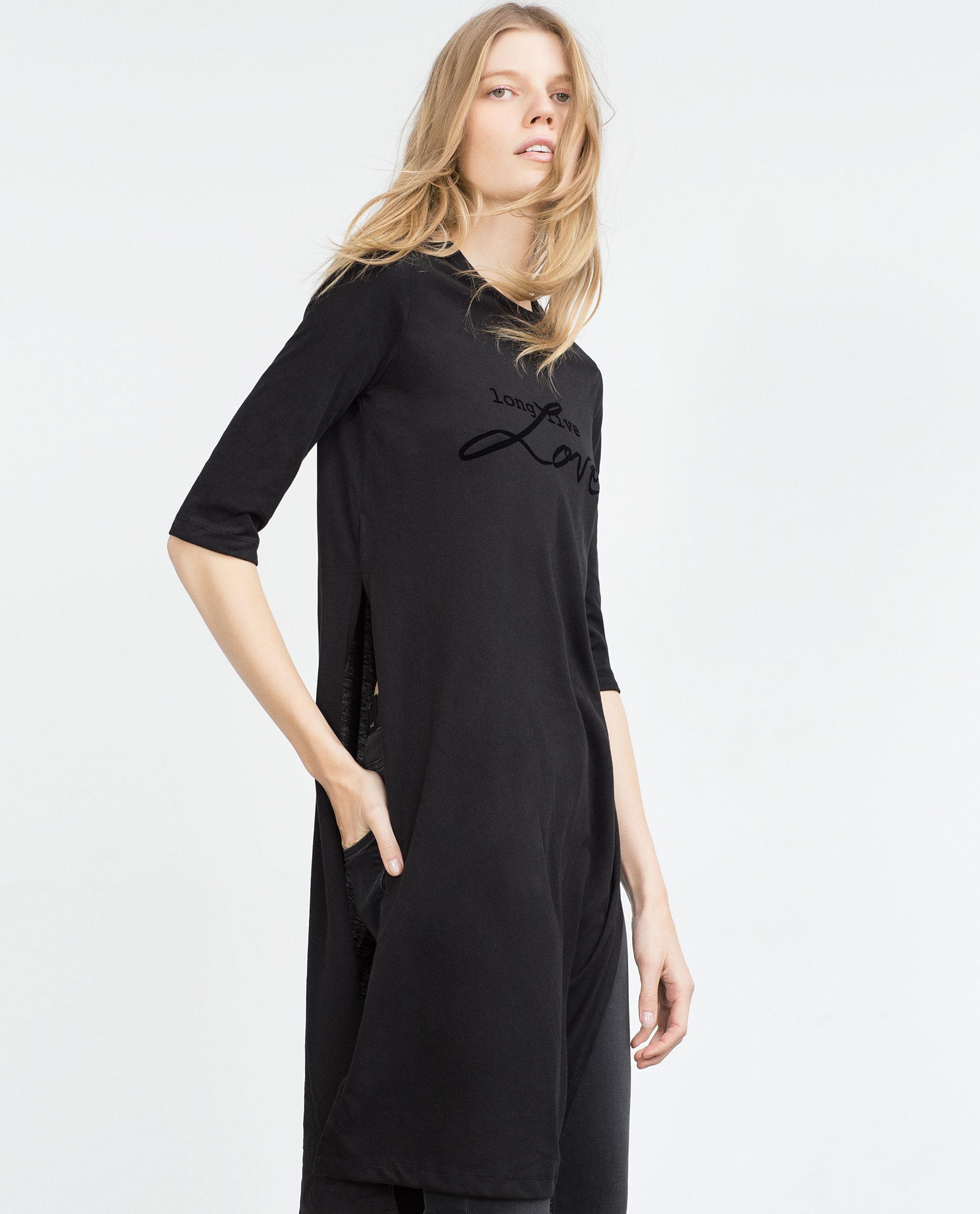 Zara long t shirt with slits in black lyst for Zara black t shirt dress