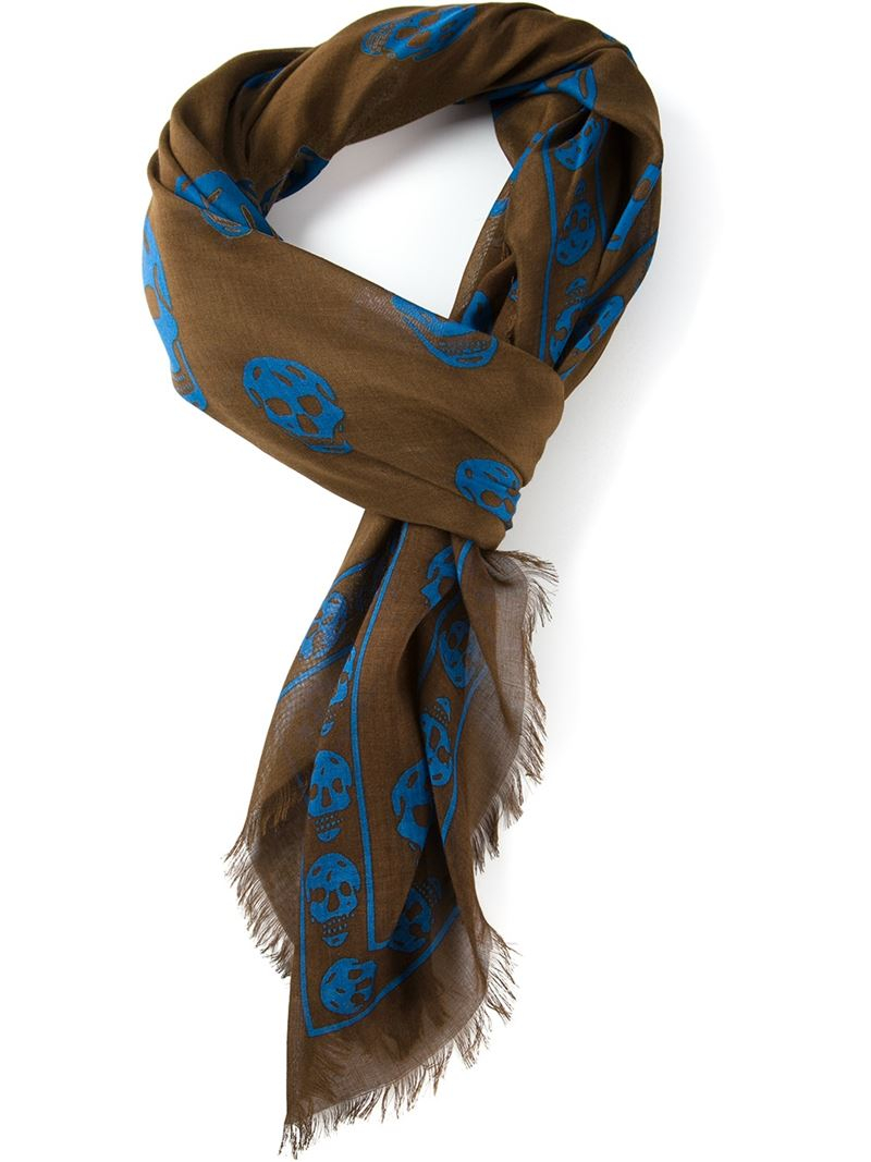 mcqueen skull scarf in brown for lyst