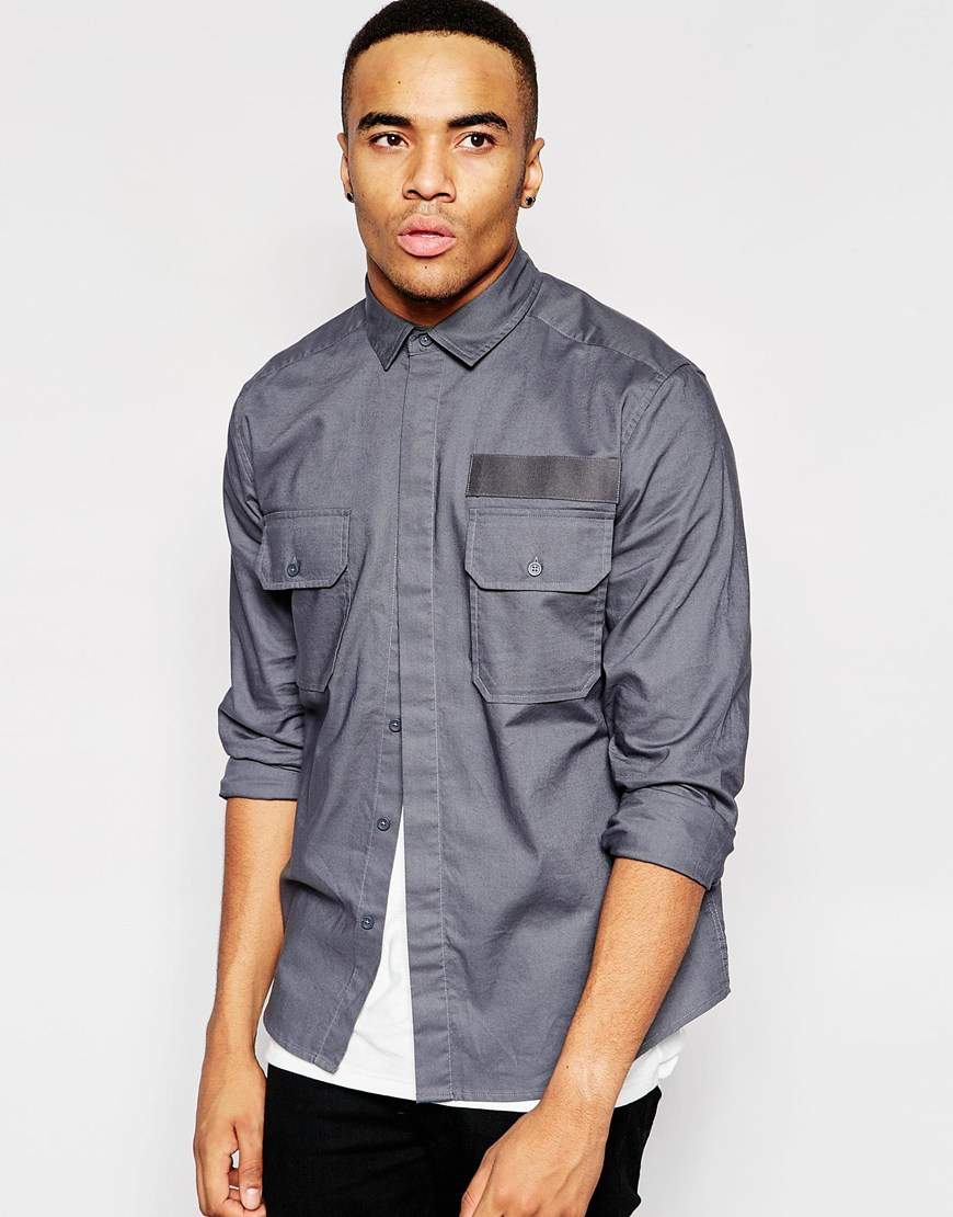 Asos military shirt with tape detail in long sleeve in for Bear river workwear shirts