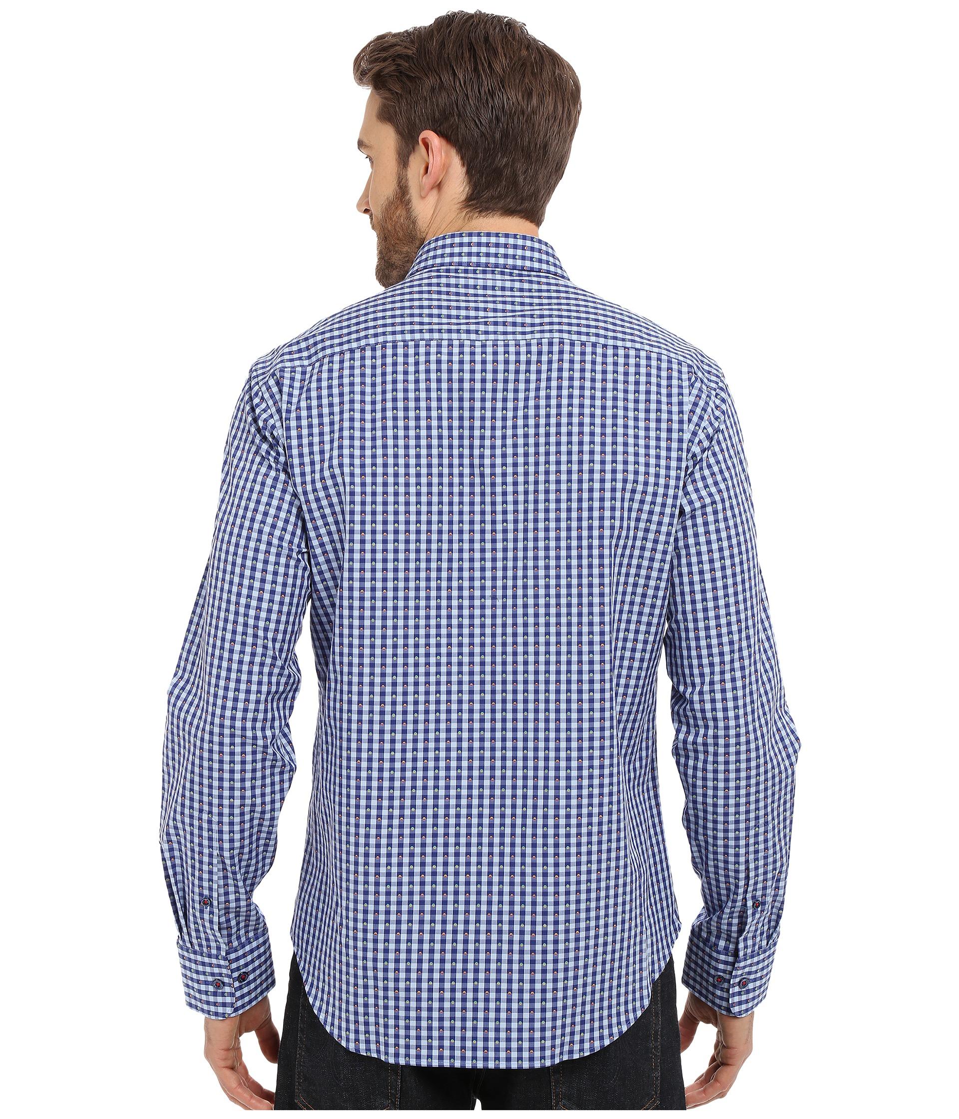 BUGATCHI Mens Long Sleeve Shaped Fit Button Down Spread Collar Woven Shirt XXL Midnight