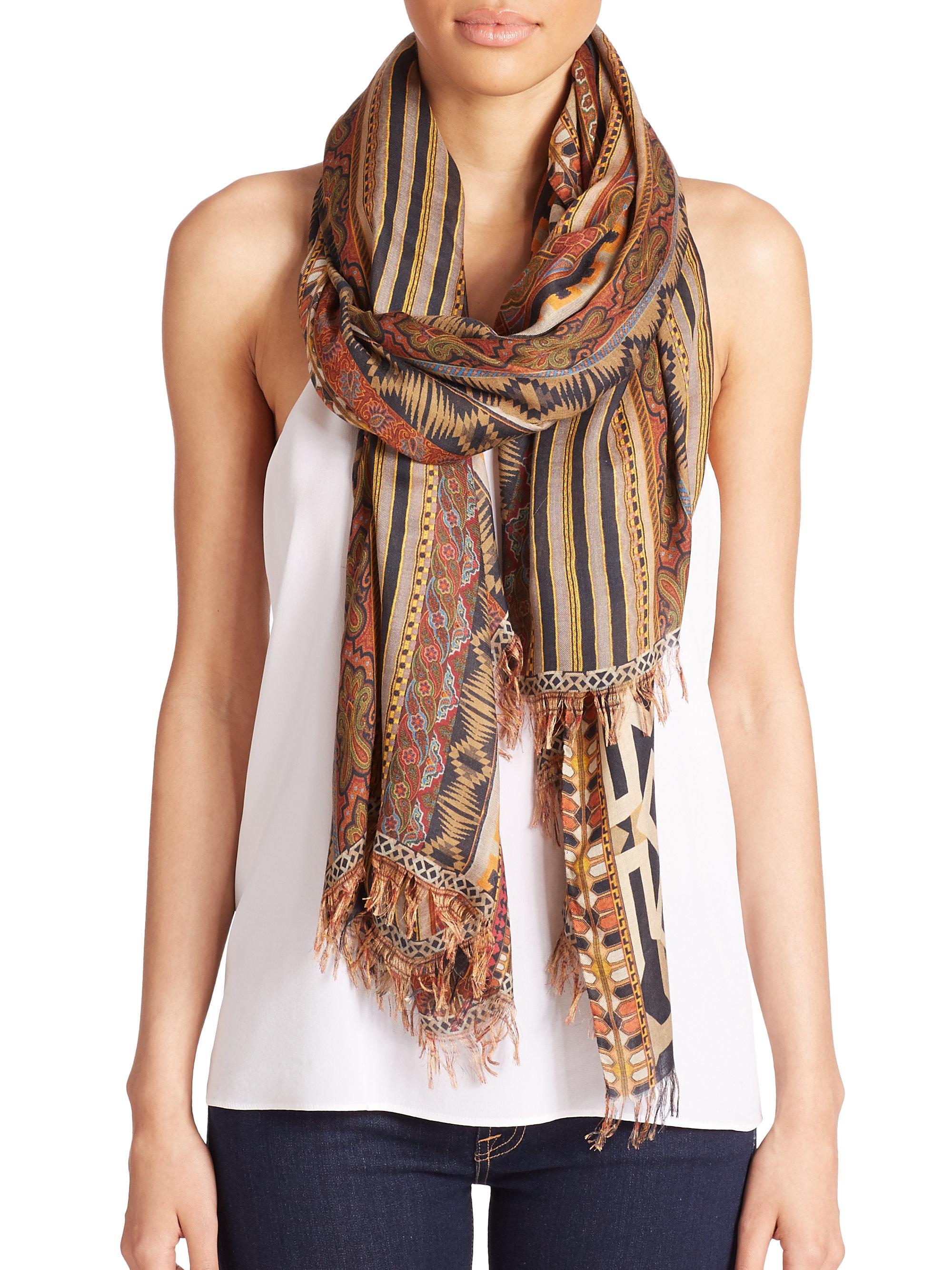 etro tribal print modal scarf in brown lyst