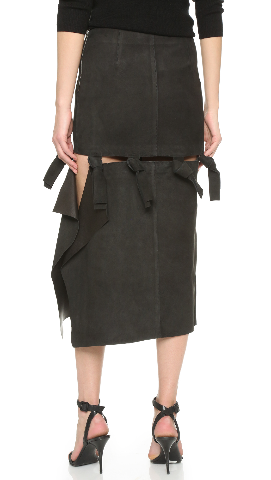 acne studios hein leather skirt in black lyst