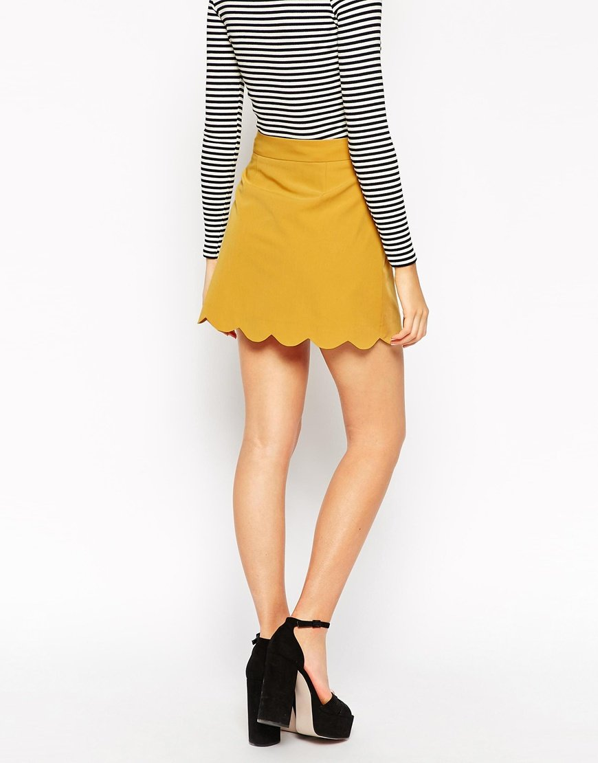 Asos A-line Mini Skirt With Scallop Hem in Yellow | Lyst