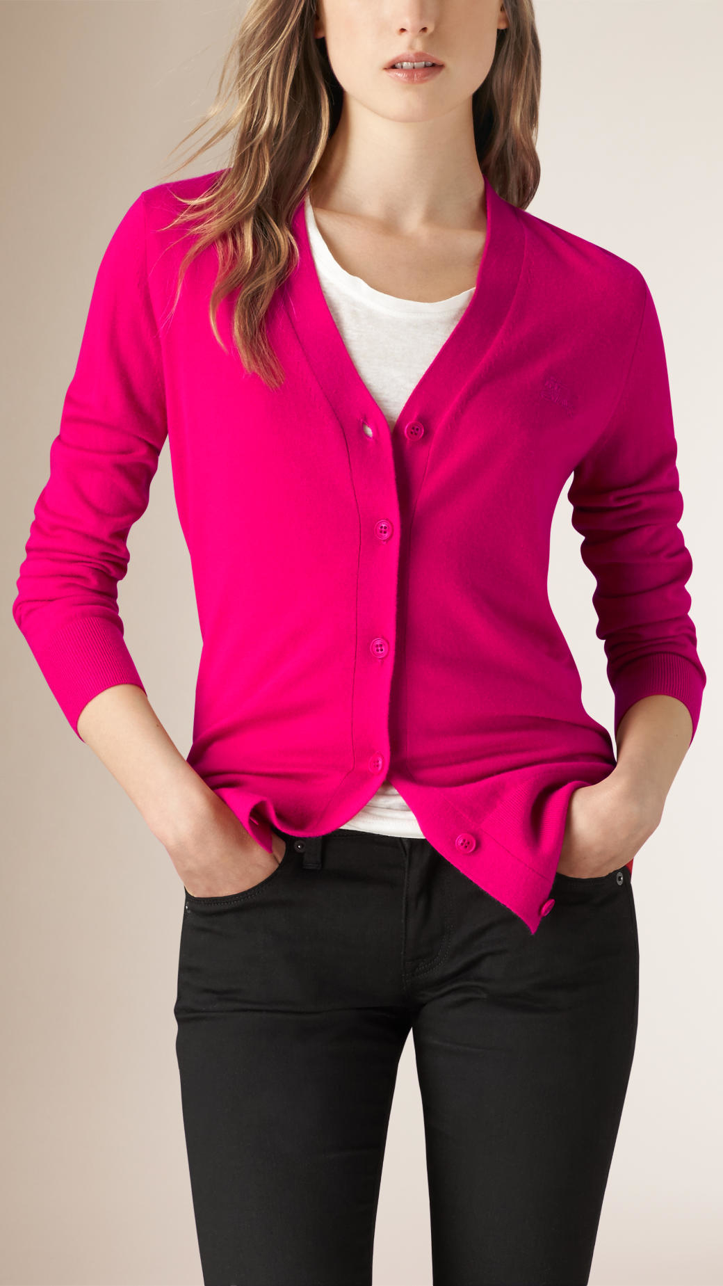 Burberry V-neck Cashmere Cardigan in Pink | Lyst