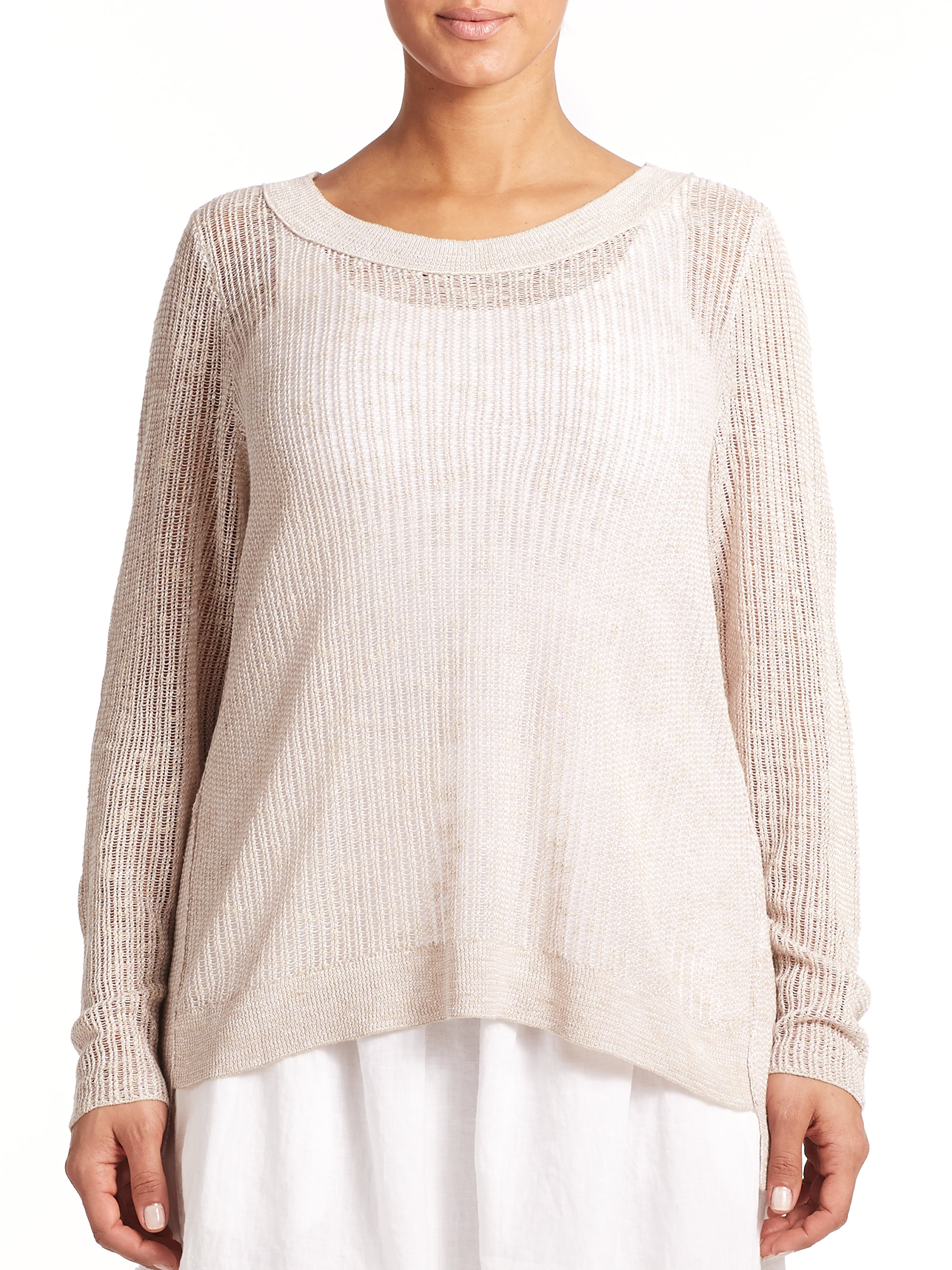 Eileen Fisher Linen Amp Cotton Open Knit Top In Natural Lyst
