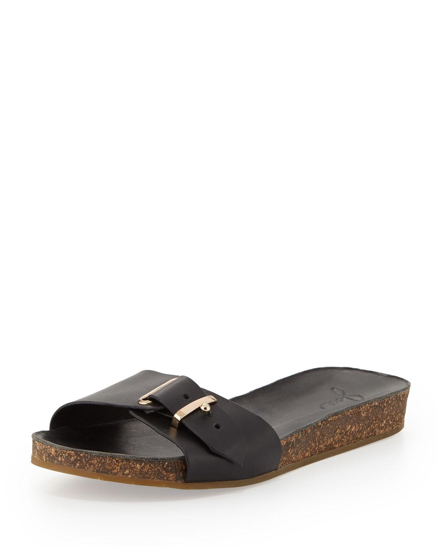 e49d479d1ca8 Lyst - Joie Maddux Leather Buckle Slide Sandal in Black
